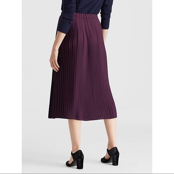 NEW • Eileen Fisher• Pleated Midi Skirt Raisinette